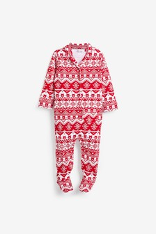 Christmas Fairisle Pattern Pyjama Sleepsuit (0mths-3yrs)