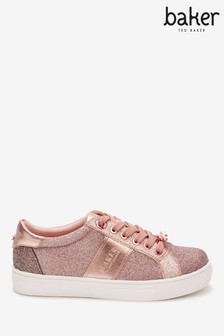Baker by Ted Baker Rose Gold Glitter Cupsole Trainers