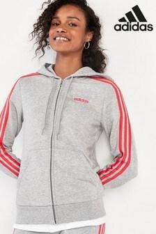 adidas Essentials Grey 3 Stripe Zip Through Hoody