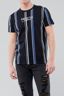 Camiseta con logo y estampado de rayas de Hollister
