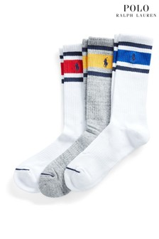 Polo Ralph Lauren Sport White Grey Colourblock Socks Three Pack