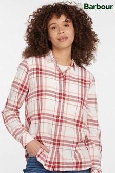 חולצה גדולה עם משבצות בצבע אדום שלBarbour® Coastal