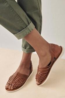 Pletené kožené sandále s podrážkou EVA