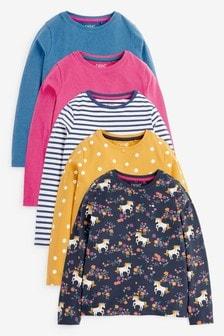 מארז5 חולצות טי ארוכות עם חדי קרן (גילאי 3 עד 16)