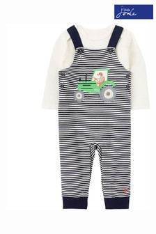 Joules Blue Wilbur Organically Grown Cotton Jersey Dungarees Set