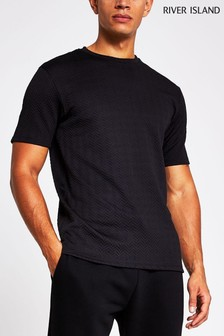 River Island Black Slim Chevron Texture T-Shirt