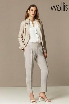 מכנסיים בגרזה רפויה ללא-רכיסה בצבע אפור של Wallis