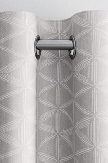 Светло-серые шторы с геометрическим принтом и люверсами Raw Beauty