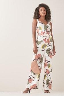 Linen Blend Jumpsuit (A00376) | $50 - $52