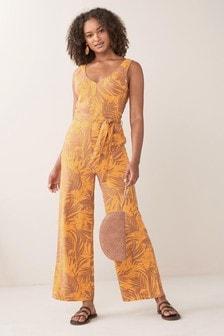 Linen Blend Jumpsuit (A00378)   $50