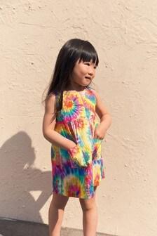 فستان قطن صباغة بالربط (3 شهور -7 سنوات)