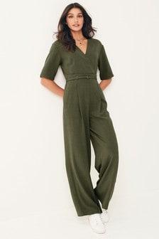 Belted Wide Leg Jumpsuit (A01076) | $74