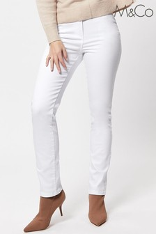 M&Co White Straight Leg Jeans