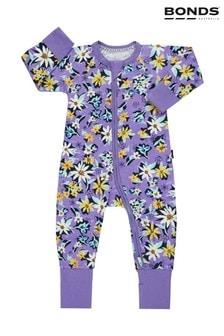 חליפת תינוקות של Bonds בסגול עם פרחי חיננית