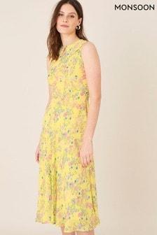 שמלת מידי בצהוב עם הדפס של Monsoon דגם Sylvie
