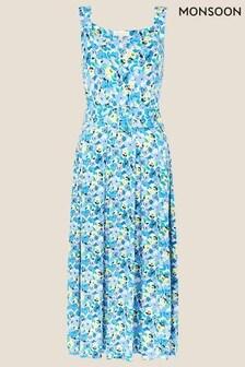 שמלה קיצית מבד ג'רזי עם הדפס פרחוני של Monsoon בצבע כחול