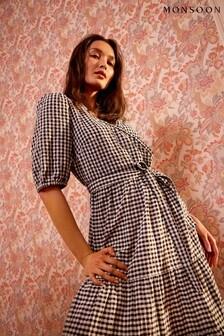 Monsoon Black Gingham Wrap Dress In Organic Cotton