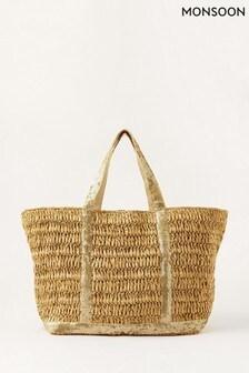 Бежевая сумка-шоппер с пайетками Monsoon