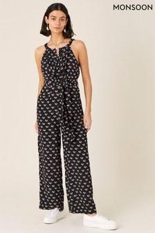 Monsoon Black Floral Print Wide Leg Jumpsuit (A02151)   $97