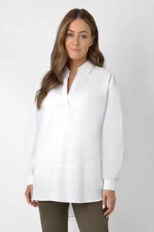 חולצת כותנה לבנה שלLive Unlimited Curve למידות גדולות עם דיטייל תפרים