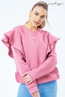 Hype. Damen Sweat-Top mit Rundhalsausschnitt, Logo und Rüschen, Blush