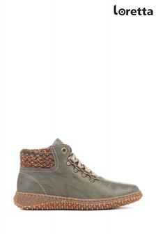 Loretta Green Leather Ladies Ankle Boots