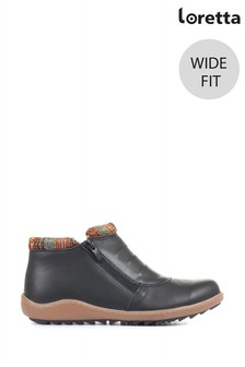 Loretta Black Ladies Wide Fit Leather Ankle Boots