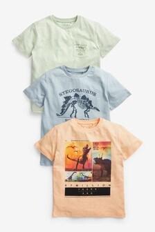 מארז3חולצות טי בהדפס דינוזאורים (גילאי 3 עד 14)