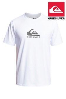 Quiksilver White Solid Streak UPF 50 Rash Vest