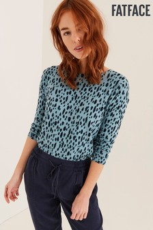 FatFace Blue Animal Print Jumper