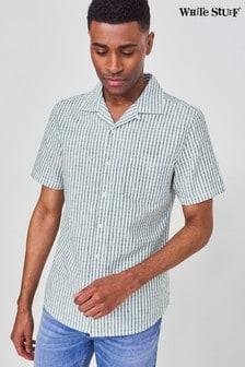 White Stuff Green Seersucker Stripe Shirt