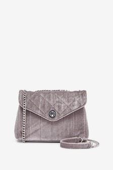 Velvet Quilted Chain Cross-Body Bag