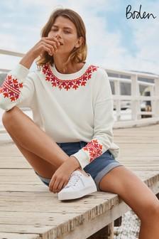 Boden White Jasmine Sweatshirt