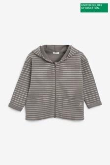 Benetton Khaki Striped Zip Through Hoodie
