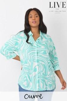 חולצה מויסקוזה בת קיימא של LIVE למידות גדולות בהדפס מערבולות בצבע אקווה-תכלת