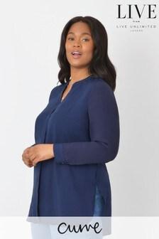 חולצה של LIVE למידות גדולות מאריג ויסקוזה בר קיימא וג'רזי מאחור בכחול כהה