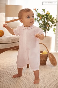 The White Company Floral Embroidered Seersucker Shortie Romper