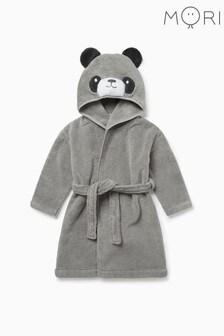 """Серый банный халат с отделкой """"панда"""" Mori"""