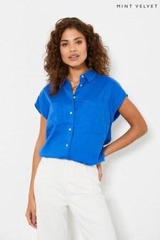 חולצת פשתן של Mint Velvet עם שרוול קצר בכחול