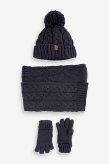3 Piece Hat, Scarf And Gloves Set (3-16yrs)