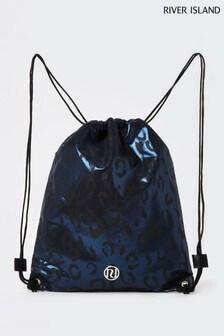 River Island Black Shimmer Leopard Drawstring Bag