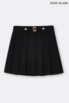 River Island Black Pleated Ponte RI Skirt