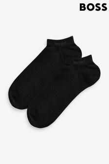 BOSS黑色Boss短襪2對裝