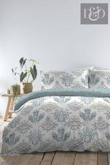 D&D Blue Emily Duvet Cover and Pillowcase Set