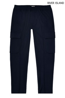 River Island Navy Twill Cargo Trousers