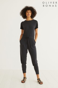 Oliver Bonas Cupro Black Jersey Jumpsuit (A08589) | $90