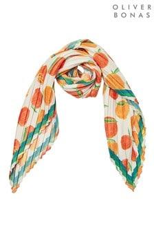 Oliver Bonas橙色打褶方形圍巾