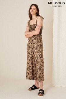 Monsoon Natural Animal Print Shirred Jumpsuit (A08811)   $90