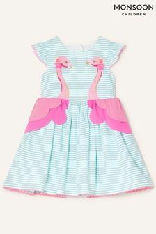 Monsoon藍色嬰兒裝條紋火烈鳥連衣裙