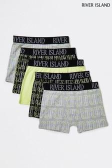 River Island ネオン ライム ロゴ入りボクサー 5 枚組